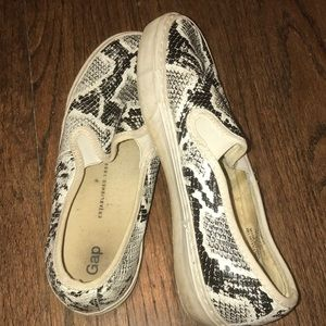 Snakeskin slip on fashion sneakers